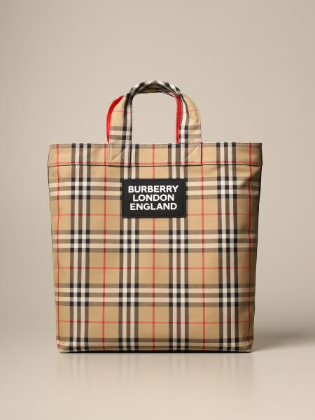 Artie shopping bag by Burberry in check canvas