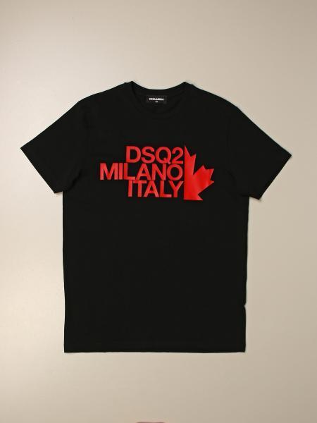 T-shirt Dsquared2 Junior in cotone con logo DSQ2 Milano Italy
