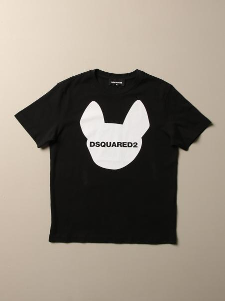 T-shirt Dsquared2 Junior in cotone con stampa e logo