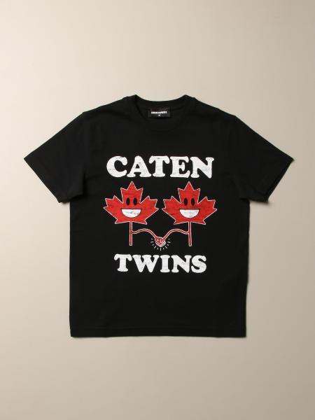 T-shirt Dsquared2 Junior in cotone con logo Caten Twins