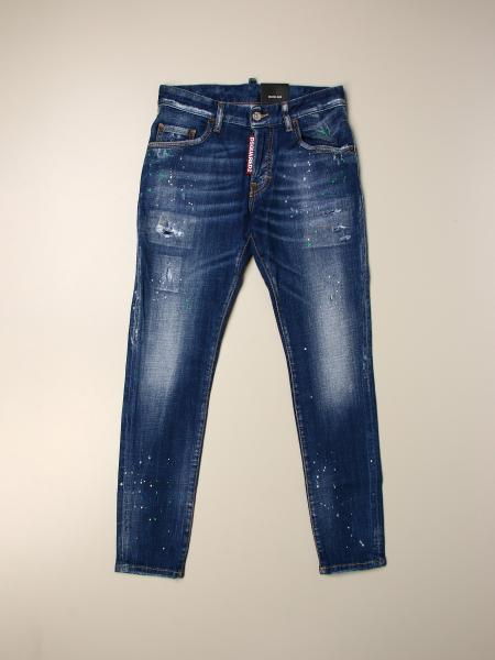 Jeans Skater Dsquared2 Junior in denim used con rotture