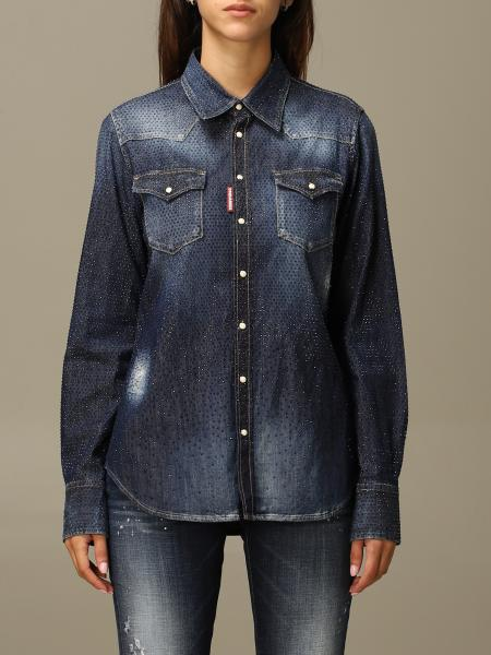 Dsquared2 denim shirt in denim with all over crystals
