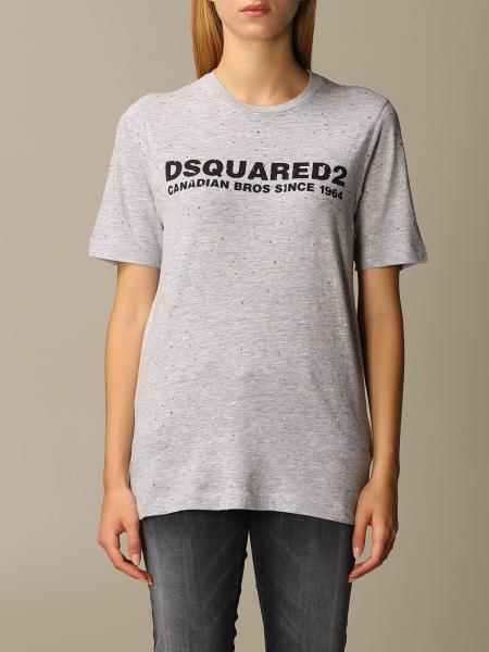 Dsquared2 crew neck t-shirt with logo and rhinestones
