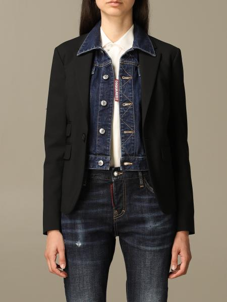 Blazer Dsquared2 in lana stretch con giacca in denim stratificato