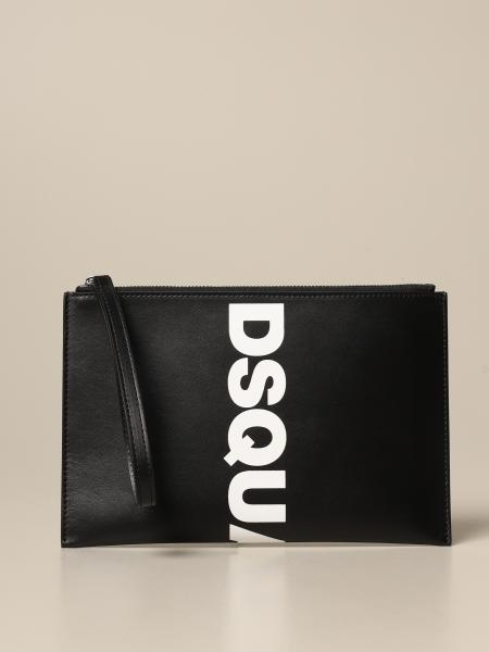 Pochette Dsquared2 in pelle con big logo