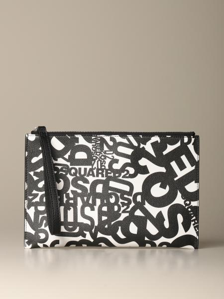 Dsquared2 leather clutch bag with multi logo print