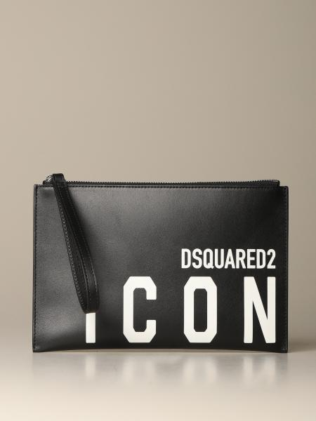 Dsquared2 leather clutch bag with Icon print