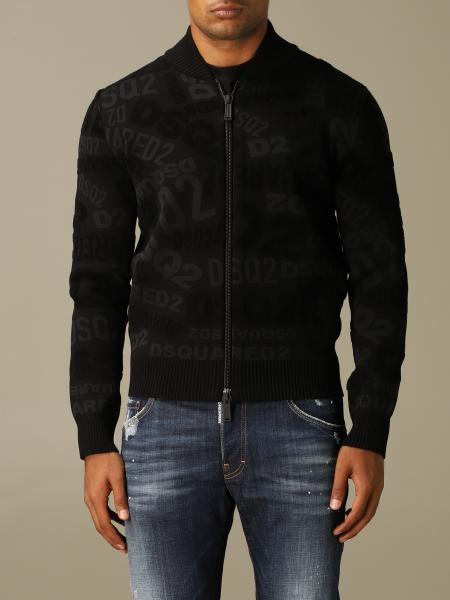 Cardigan a bomber Dsquared2 con logo all over