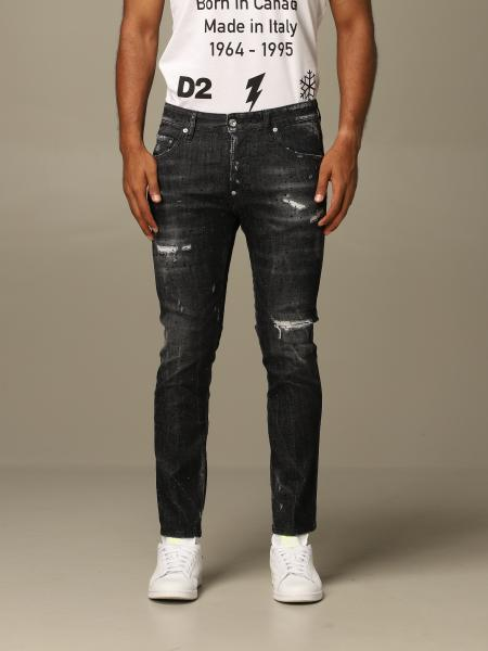 Jeans Skater Dsquared2 slim fit con cristalli all over