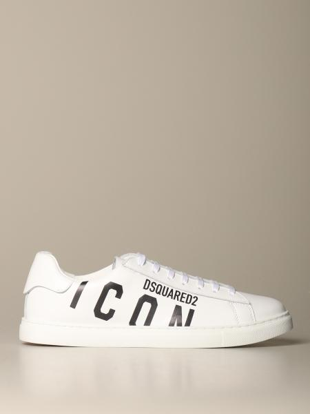 Dsquared2: Sneakers Dsquared2 in pelle con stampa Icon