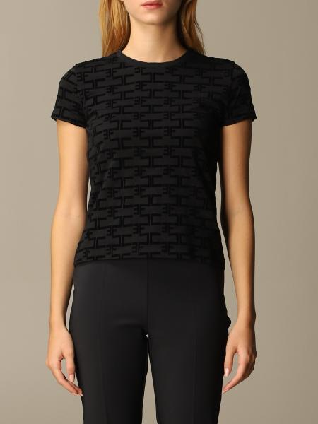 Elisabetta Franchi cotton T-shirt with flock logo