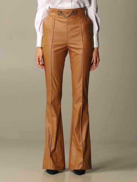 Pantalone a zampa Elisabetta Franchi in pelle sintetica