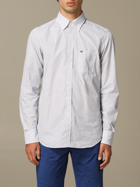 Button down slim lavato con pince riga