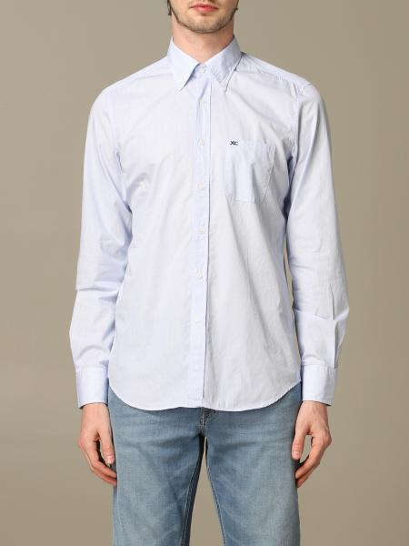 Button down slim lavato con pince micro quadro