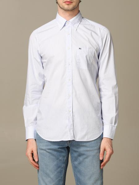 Button down slim lavato con pince micro riga
