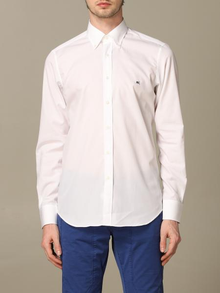 Button down slim con pince cotone no iron
