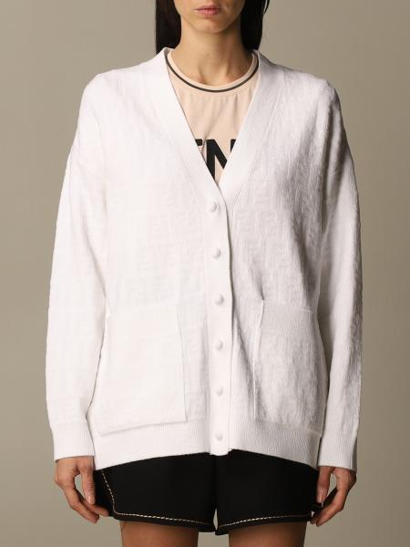 Fendi v-neck cardigan with jacquard logo