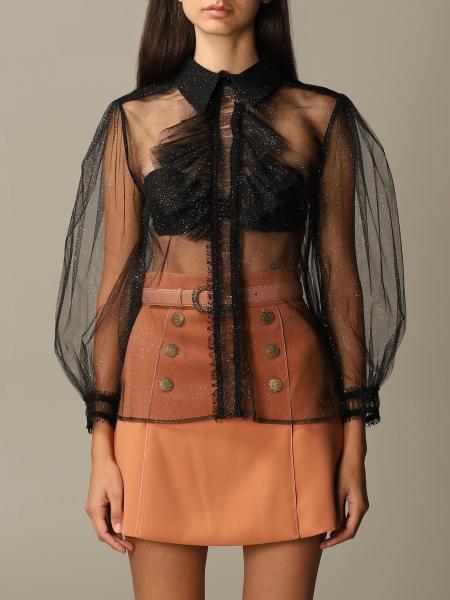 Camicia Elisabetta Franchi in tulle glitter con rouches