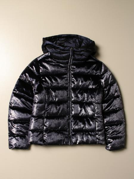 Invicta down jacket with vitrified velvet effect with hood