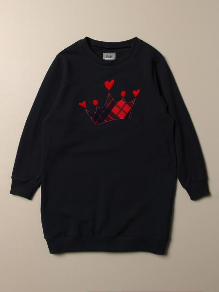 Il Gufo: Il Gufo sweatshirt dress in cotton with check crown