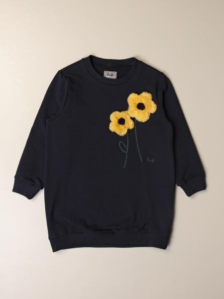 Il Gufo: Il Gufo sweatshirt dress in cotton with flowers