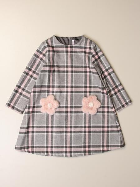 Il Gufo: Il Gufo check dress with floral applications