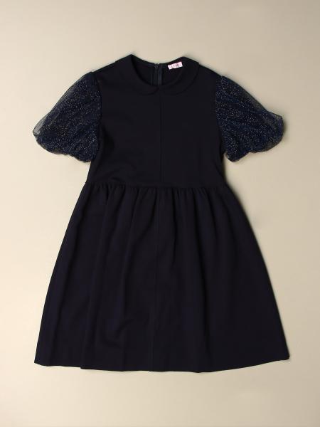 Il Gufo: Il Gufo Milano stitch dress with tulle sleeves