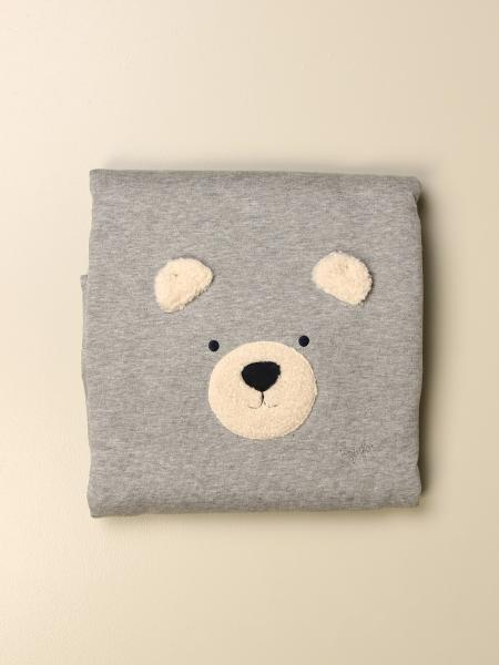 Crib blanket Il Gufo in cotton jersey with teddy bear
