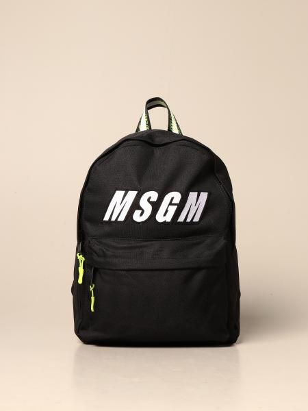 Msgm Kids backpack in logo canvas