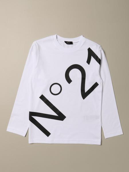 N ° 21 long-sleeved T-shirt with big logo