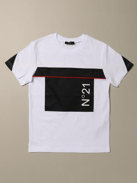 N ° 21 short-sleeved T-shirt with logo and bands
