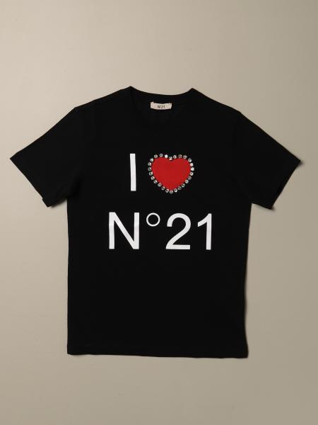 N ° 21 short-sleeved T-shirt with logo and heart