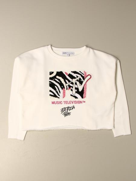 Patrizia Pepe cotton T-shirt with sequined MTV logo