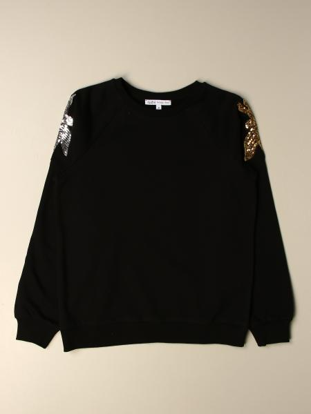 Patrizia Pepe cotton sweater with sequin fly logo