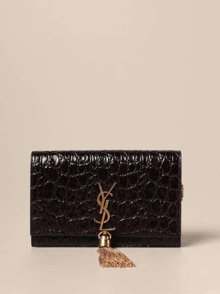 Bolso Kate Monogram Saint Laurent en piel con estampado de cocodrilo