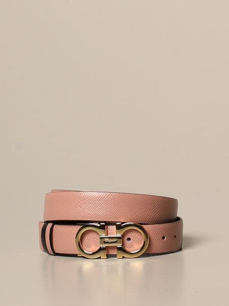 Cintura Gancini Salvatore Ferragamo in pelle con stampa rettile reversibile