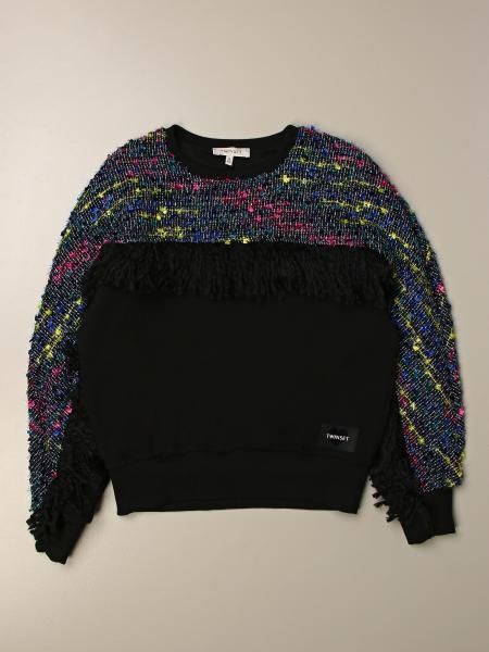 Twinset kids: Twin-set crewneck sweatshirt with bouclé sleeves