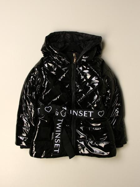 Shiny down jacket with logo belt and hood