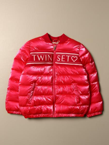 Logo down bomber jacket with rouches