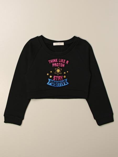 Twinset kids: Twin-set cropped sweatshirt with lettering