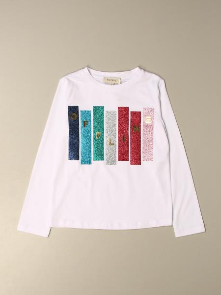 T-shirt Twin-set in cotone con logo glitter multicolor