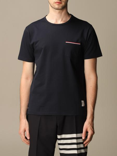 Thom Browne cotton T-shirt with striped band and pocket