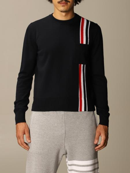Thom Browne pullover in merino wool with striped band