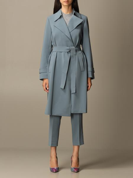 Theory: Theory coat in crêpe dressing gown with belt