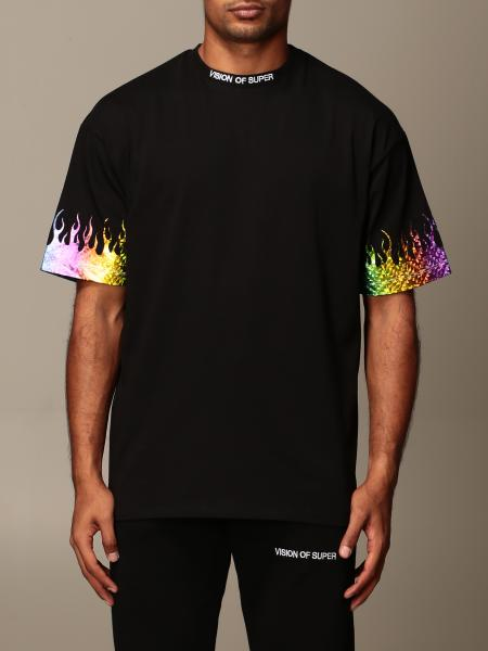 Vision Of Super: T-shirt Vision Of Super in cotone con fiamme rainbow