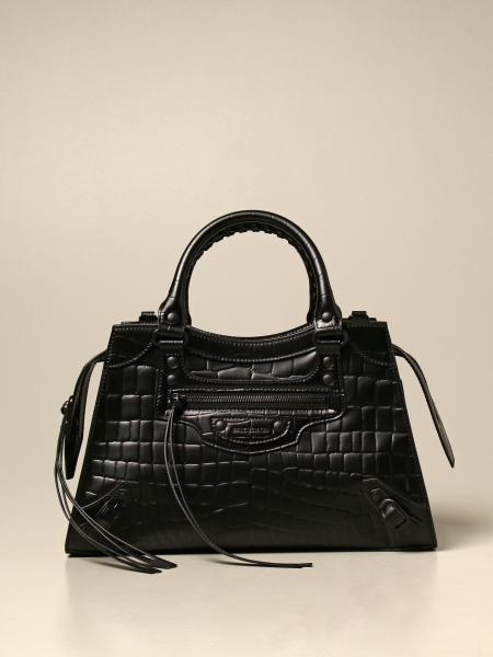 Balenciaga: Neo classic city S Balenciaga bag in crocodile print leather