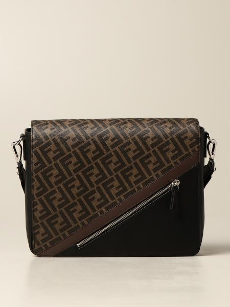 Fendi men: Fendi bag in fabric with FF logo and leather
