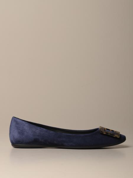 Roger Vivier Gommette ballet flat in suede with tortoiseshell buckle