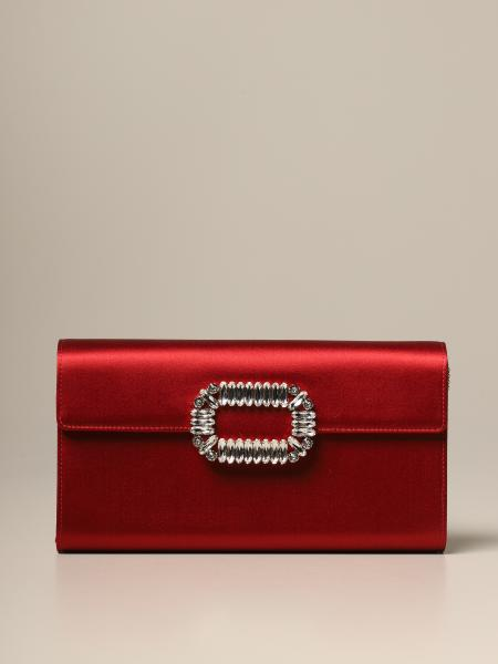 Sexy Choc Roger Vivier satin clutch with crystal buckle