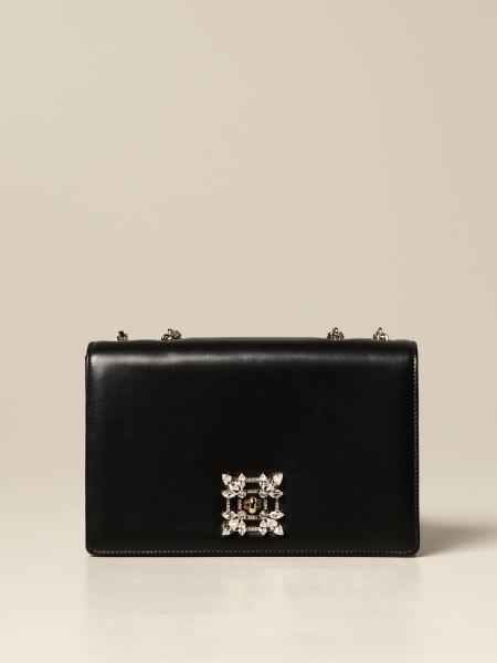 Roger Vivier: Miss Vivier Roger Vivier leather bag with crystal buckle